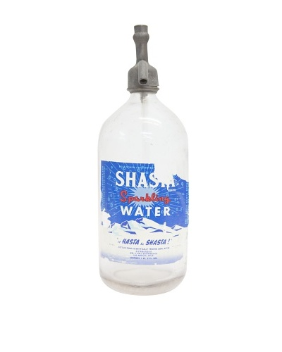 Vintage Circa 1950's Shasta Water Glass Seltzer Bottle with Top