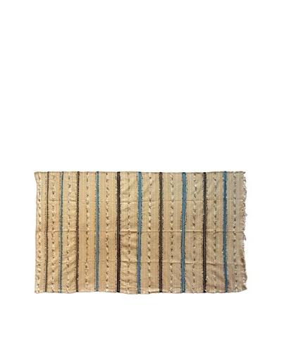 Vintage Berber Wedding Rug, Creme/White/Black/Turquoise, 5' 2 x 8' 8