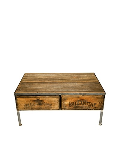 Grafton Two-Drawer Repurposed Crate Coffee Table with Barnwood Top