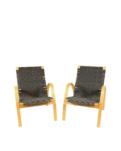 Pair of Swedish Basket Weave Chairs, Black/Silver