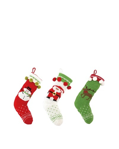 Set of 3 Holiday Knit Stockings