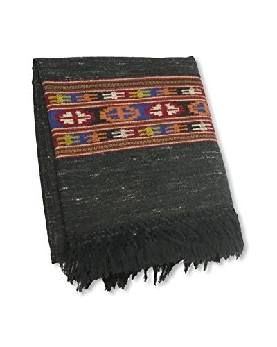 Kullu Hand-Loomed Throw, Black/Red/Blue