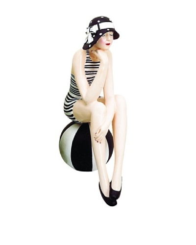 Large Resin Beach Beauty in Black and White Swimsuit on Striped Ball