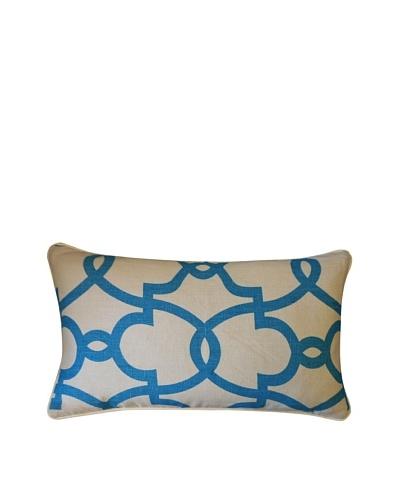 Dean Throw Pillow, Cream/Turquoise