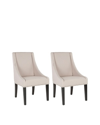 Safavieh Mercer Collection Austin Leather Sloping Arm Chair, Set of 2