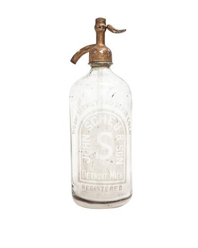 "Vintage Circa 1950's ""John Scheu & Son"" Glass Seltzer Bottle with Nozzle"