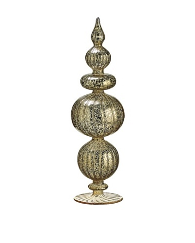 "13"" Antique Mercury Glass Finial Table Top, Gold/Antique"
