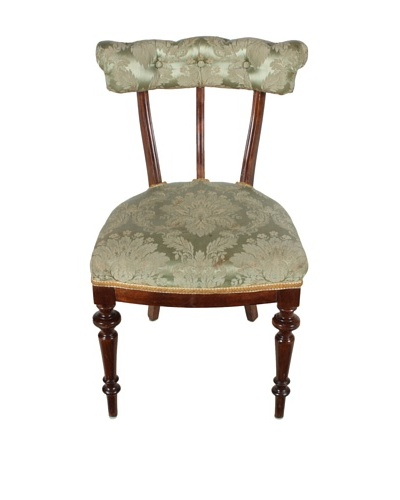 Late 1800's Parlor Chair, Brown/Green/Gold