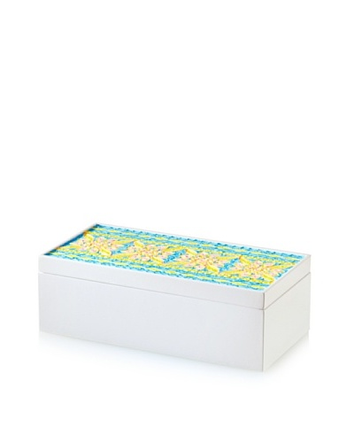 Handmade Wood & Paper Quilling Box, Light Blue/Grey