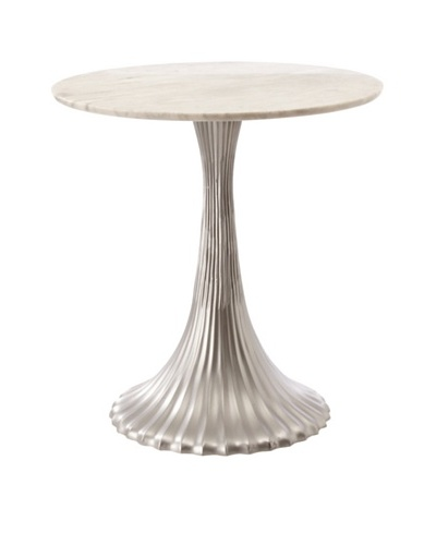 Metal End Table with Marble Top, Pewter