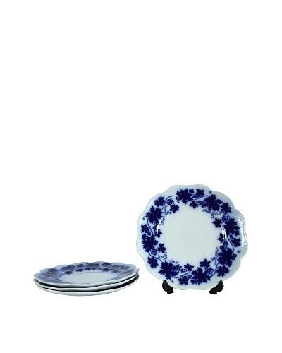 Set of 4 Flow Blue Vinranka Salad Plates, Blue/White