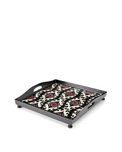 Reverse-Painted Glass Square Tray, Black