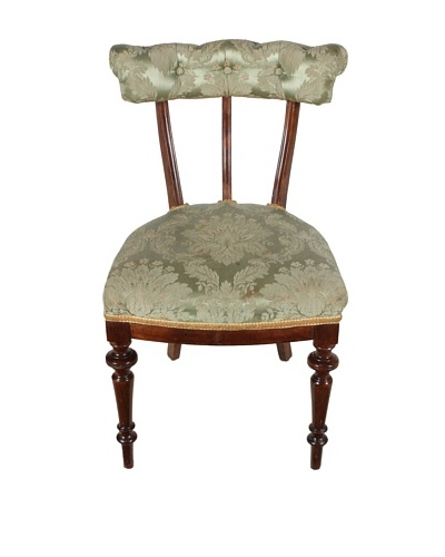 Late 1800s Parlor Chair, Brown/Green/Gold