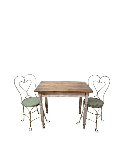 Vintage Table Set with Pair Heart-Back Chairs, c. 1960s