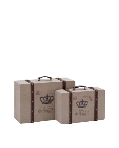 Set of 2 Burlap Suitcases With Crowns