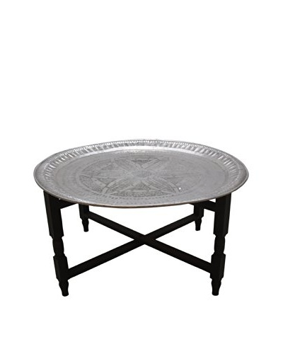 Vintage Aluminum Tray Table with Wood Base, Silver/Black