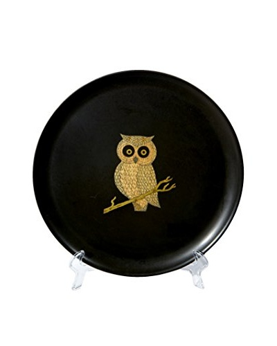 1960s Couroc Inlaid Round Owl Tray