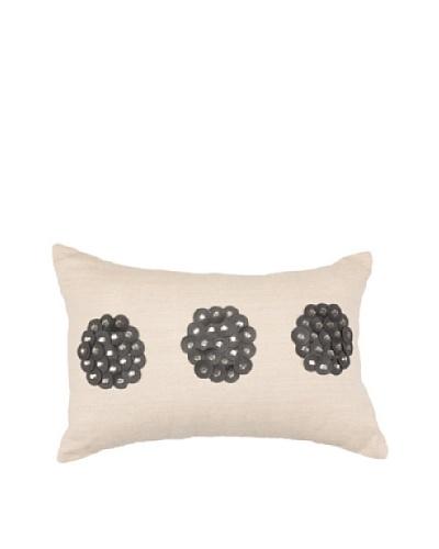 African Circles Pillow, Black/Beige, 14 x 21