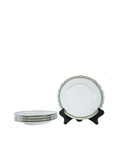 Set of 5 French Limoges Salad Plates, White/Green/Gold