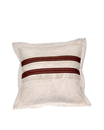 Vintage Stripes Pillow, Cream/Brown, 18X18