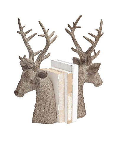 Wood Stag Bookends