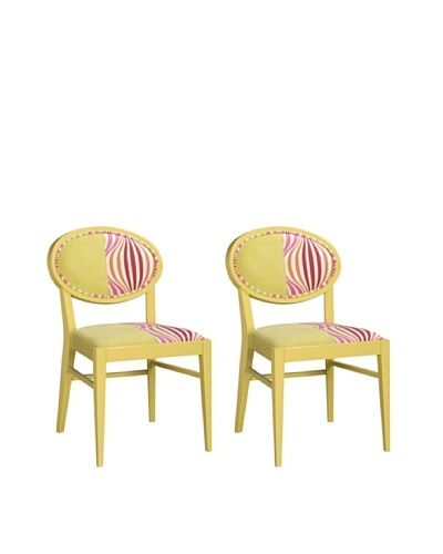 Set of 2 Armless Dining Chairs, Yellow