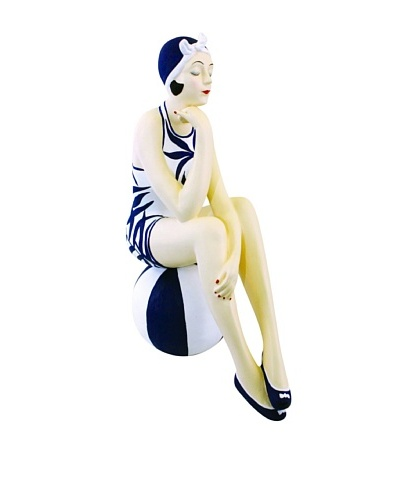 Large Resin Beach Beauty in Navy and White Swimsuit on Striped Ball