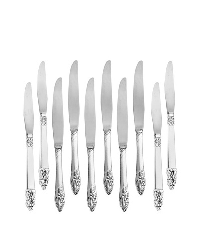 Vintage Set of 10 English Silver Knives with Etched Handles, c.1940s