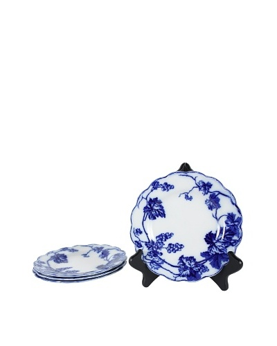 Set of 4 Flow Blue Warwick Dessert Plates, Blue/White