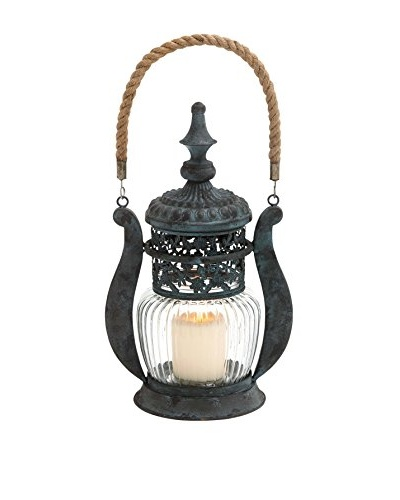 Metal Glass Jute Lantern