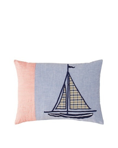 Plaid Sails Throw Pillow, Blue/Red, 12 x 16