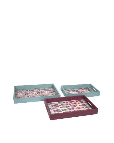 Set of 3 Assorted Becerra Wood & Glass Trays