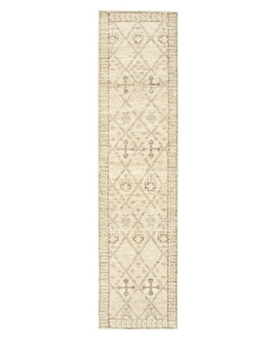 Hand-Knotted Mystique Gabbeh Wool Rug, Cream, 2' 5 x 9' 1