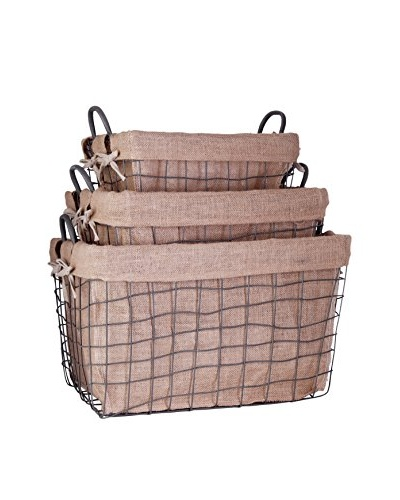 Set of 3 Farmhouse Rectangle School Baskets