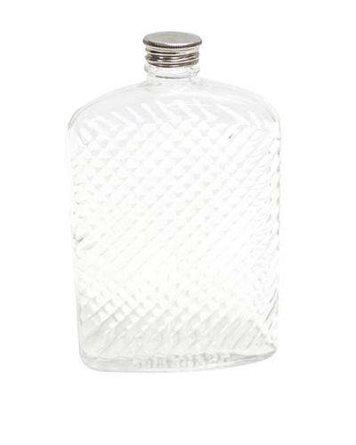 Vintage Circa 1960 Herringbone-Textured Glass Flask with Cap