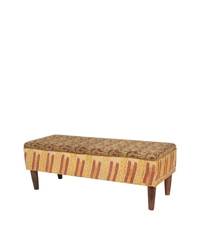 One of a Kind Kantha Bench, Amber/Red Multi