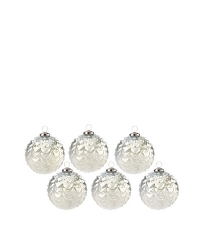Set of 6 Drip Design Glass Ball Ornaments