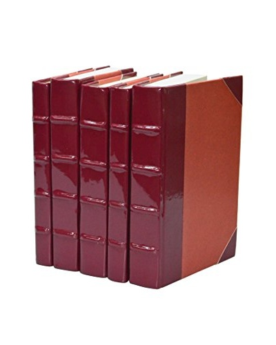Set of 5 Patent Leather Books, Red