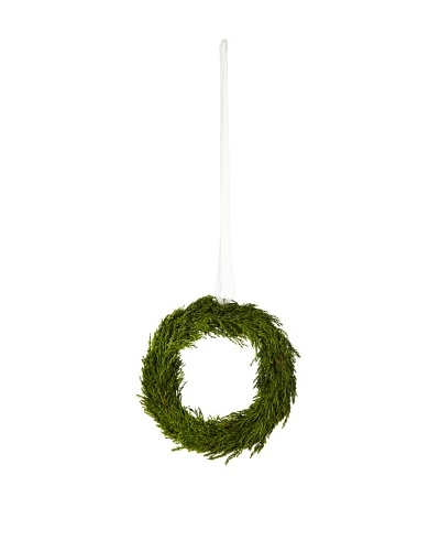 Cypress Wreath with Ribbon Ornament