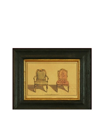 Framed Miniature Reproduction French Two Antique Side Chairs Print