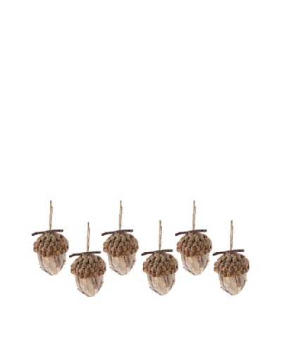 Set of 6 Acorn Ornament with Natural Finish