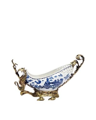 Blue Willow Swan Ormolu Bowl
