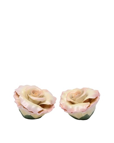 Porcelain Peace Rose Salt & Pepper Shaker Set
