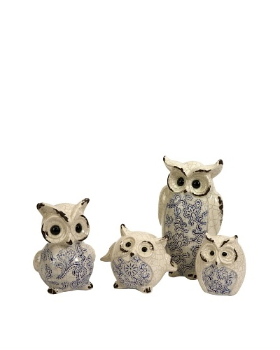 Set of 4 Owl Knight Family Figurines