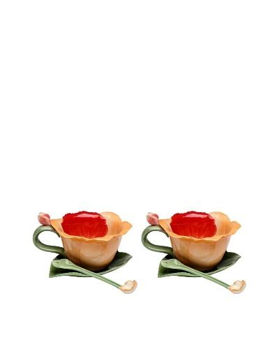 Porcelain Orchid 6-Piece Set, Orange