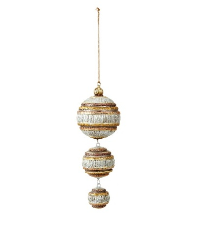 Three-Ball Dangling Ornament, Silver/Gold