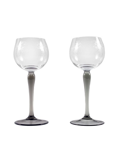Pair of French Etched Wine Glasses