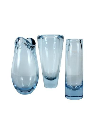 Set of 3 Holmegaard Mid-Century Vases, Blue