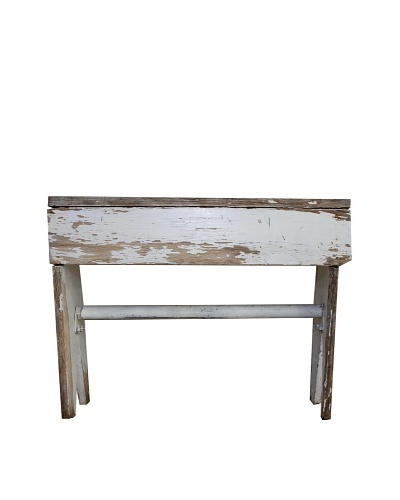 Vintage Distressed Painted Wood Bench, c.1950s