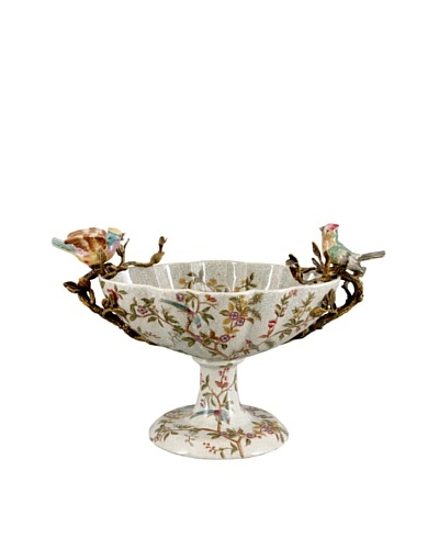 Emma Garden Porcelain Centerpiece with Birds